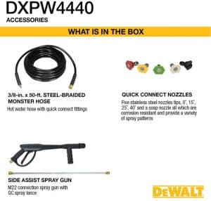 Some of the accessories of the DeWalt DXPW4440