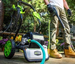 The Greenworks GPW2000 in use
