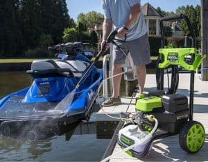 The Greenworks PW18HYB in use