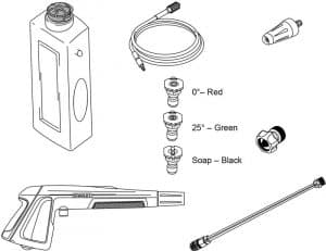 Some of the accessories of the Stanley SHP2000
