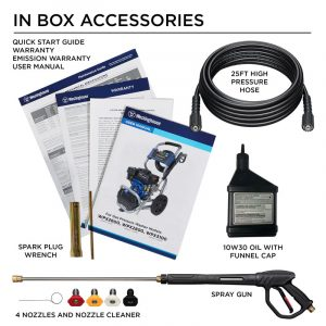 Some of the accessories of the Westinghouse WPX2800