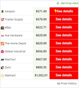 screenshot of our price comparison feature